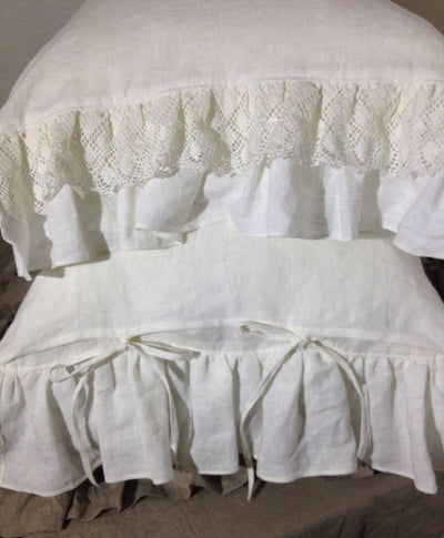 Linen Pillowcase with Lace and Ruffles, Romantic Pillowcase, Antique Shabby Chic Sham, Queen, King, Standard Linen Pillowcase