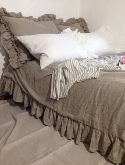Linen Duvet Cover with Ruffles, natural 100% pure taupe linen bedding, Ruffled Duvet Cover, Ruffled linen, Shabby Chic bedding, Queen, King