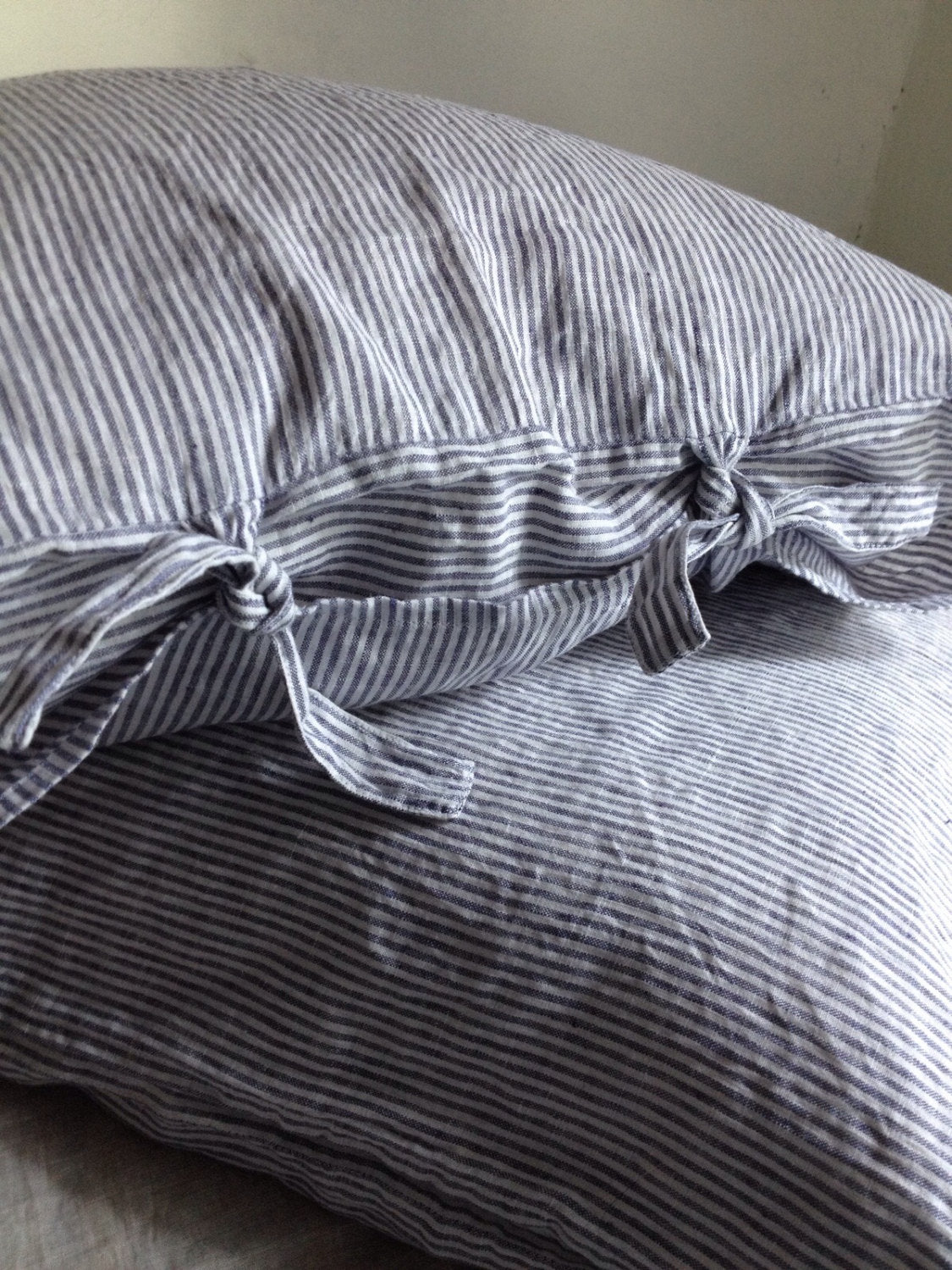 Striped Linen Pillowcase, Linen Pillowcase with thin White and Blue striped, Sham, Queen, King, Standard Linen Pillowcase by Linenbee