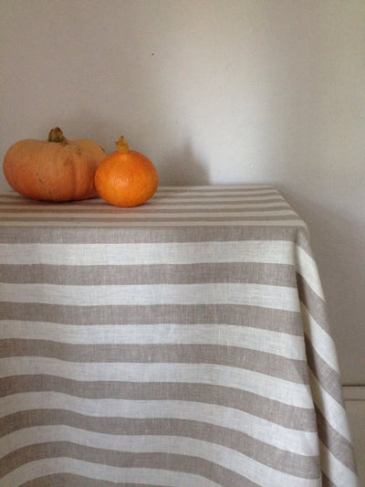 Linen tablecloth, striped tablecloth, ivory and light brown softened linen tablecloth, square tablecloth by Linenbee