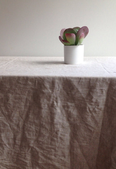 "Extra wide linen tablecloth 90 x 85"" (230x215cm) from sturdy natural linen Large linen tablecloth, large custom tablecloth,  large rectangle"