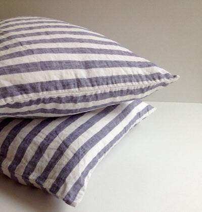 Set of Two Striped Linen Pillowcases, Blue and White Linen Pillowcases, Shams, Queen, King, Standard Linen Pillow Cover