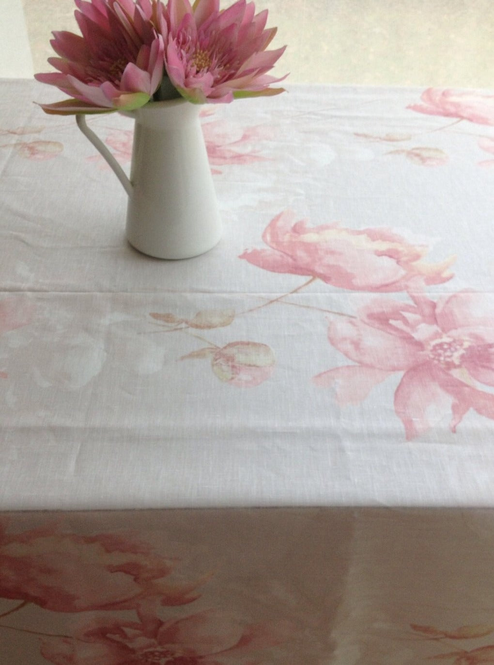 Romantic Linen Tablecloth with Soft Pink and White Flower Print, Light Gray linen tablecloth with flower print