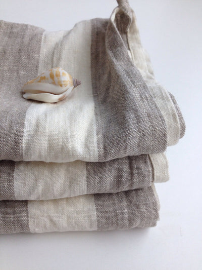 Set of three Linen tea towels, dish towels, kitchen towels, striped linen towels, linen kitchen towels with stripes