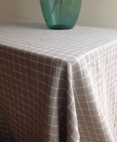 Linen tablecloth, Checkered Tablecloth, Rectangle Tablecloth, Natural Linen Tablecloth, Large Tablecloth