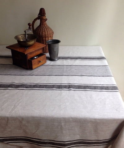 Linen tablecloth, French country rustic table cloth, square tablecloth, oval tablecloth, striped tablecloth, sack linen