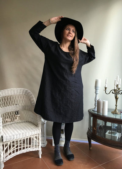 Linen Dress, Summer Linen Dress, loose A shaped dress, Long sleeve dress, womens tunic, plus size dress, holiday dress, women dress
