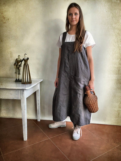 Linen Pinafore Apron, Linen Apron, Long Pinafore Woman, Square-Cross Apron, no-ties apron, Japanese apron, linen smock, Mothers day gift