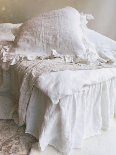 Linen Bed Skirt Dust Ruffle, Bedskirt, White linen dust ruffle, ruffle skirt bed, French linen bed skirt, white ruffle bed skirt, custom