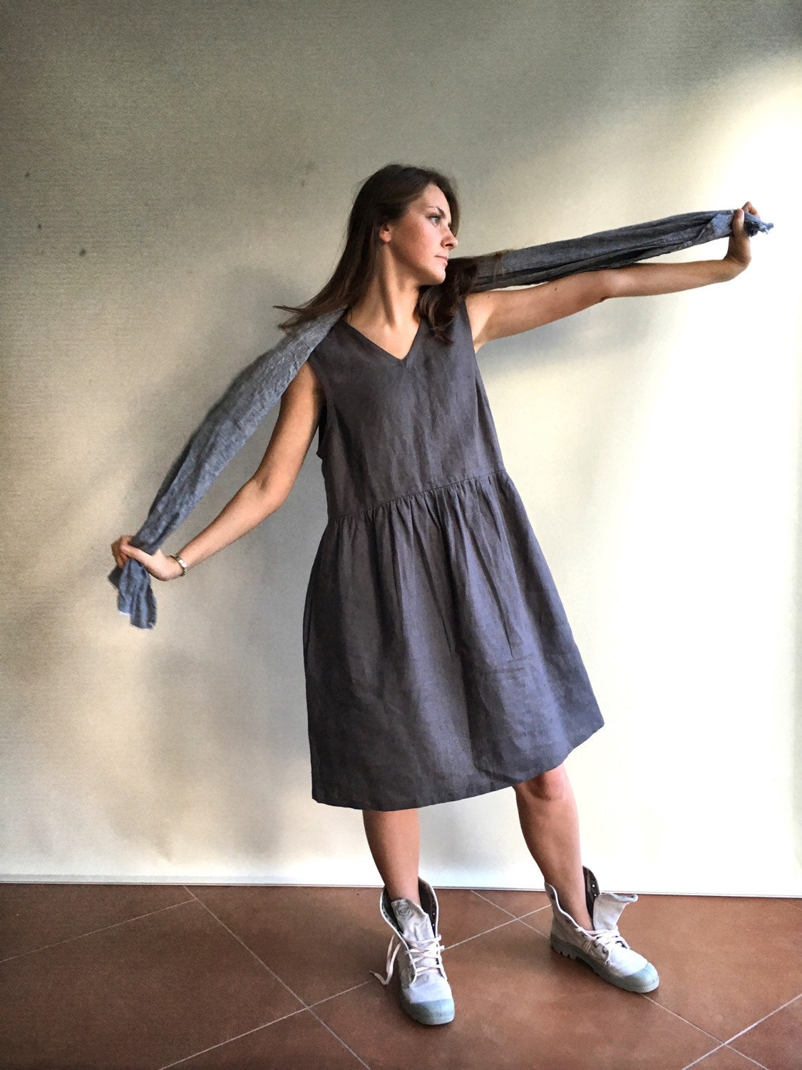 dress with v neck and pockets linen dresses for woman Loose dress jumper Grey Sleeveless Linen Dress Linen pinafore dress womens dress