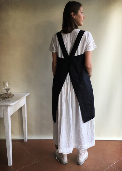 Linen Pinafore Apron, Dark Pinafore Apron Woman, Square-Cross Apron, no-ties apron, Japanese apron, linen smock, Apron dress, mothers day