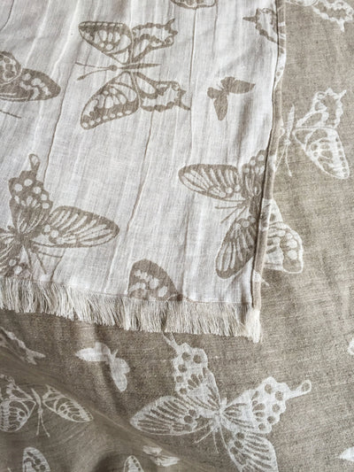 Linen bed throw with butterflies, romantic bed cover, linen bed cover, linen blanket, duplex blanket, summer blanket, decorative throw