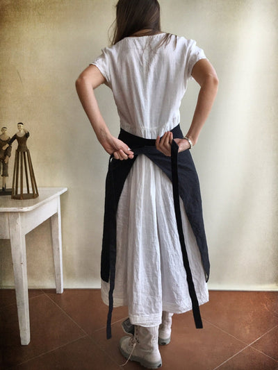 Half Apron With Front Pocket, Black Linen Apron, Cafe Apron, Half Apron, Long Waist Apron, Women's aprons, Mens Apron, Apron linen, Striped