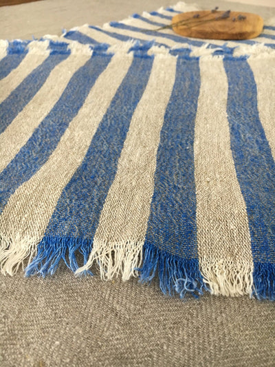 Linen placemats with blue stripes, set of 6 linen placemats, striped placemats, rustic placemats, country placemats, cloth placemats striped