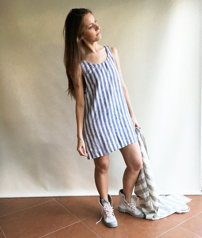 Linen Slip Dress, Linen Shirt Dress, Summer Dress, Striped Dress, Linen top, sleeveless, beach dress, holiday dress, casual dress, long top