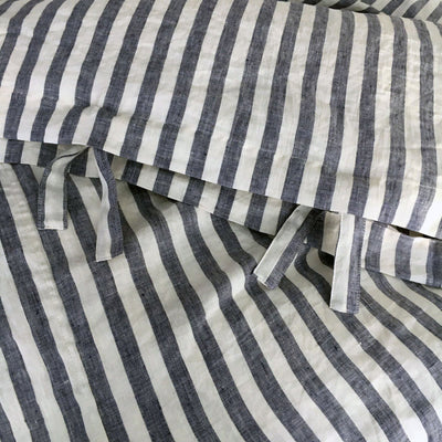 Linen duvet cover, striped linen bedding, blue and white striped duvet cover queen, king, twin custom natural 100% pure linen by Linenbee