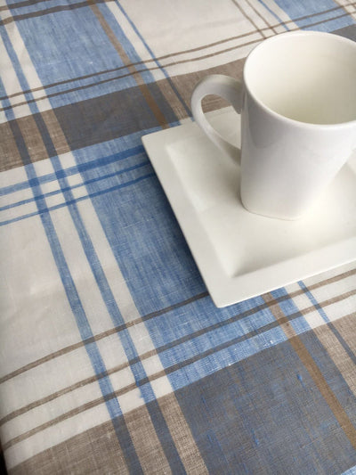 Linen tablecloth, Tartan tablecloth, rectangle tablecloth, checkered tablecloth, blue and brown tartan, square tablecloth, Extra large, wide