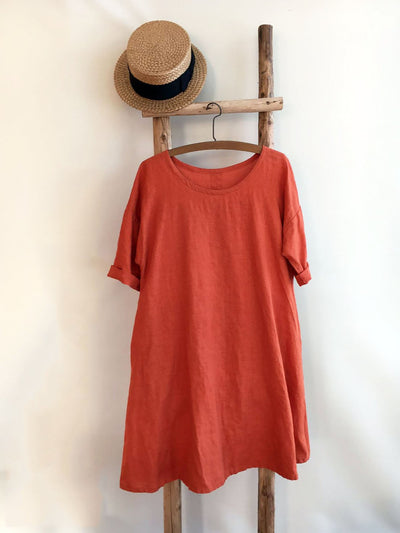 Linen Dress, Trapeze dress, Loose dress, Womens tunic dress plus size, orange dress, linen dresses for woman, summer dress, Loose dress