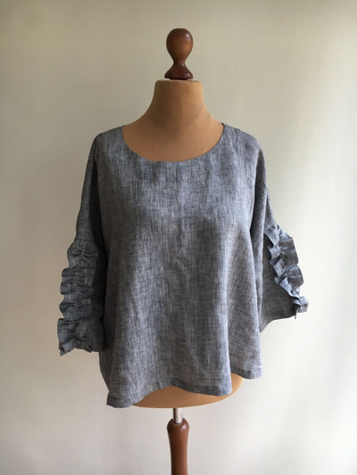 Womens Top from Linen, Grey Linen Top, Linen tunic top, Linen blouse, Linen Shirt Women, Linen Tee, Plus size shirt, Elegant womens blouse