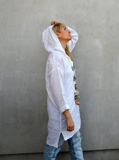 Hooded Tunic, White Linen Tunic Top, Hooded Top, Beach Dress, Beach Cover up, Womens Shirt, Loose Plus Size Hooded Shirt, White linen Womens