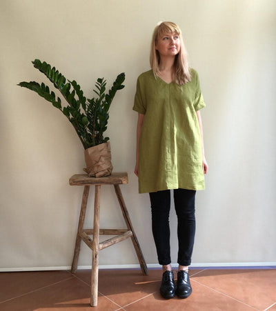 Linen Tunic Dress, Green Tunic, womens tunic, plus size tunic, linen tunics for women, linen dress with sleeves, natural linen dress, loose