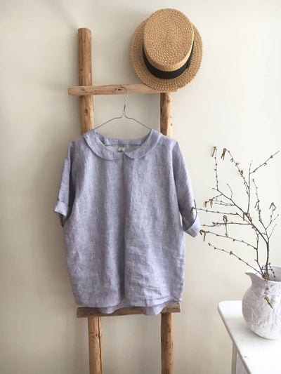 Linen top with Peter pan collar, Linen blouse, Linen Shirt Women, Linen T Shirt, Linen Tee, Plus size shirt Linen Blouse Cute Top Pin Stripe