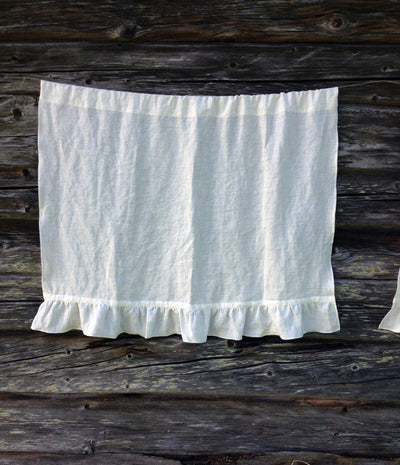 Linen Cafe Curtain, White Linen Curtain Panel French Country Cafe Curtain with Ruffle, Shabby Chic Curtains, Linen Valance Privacy Curtain