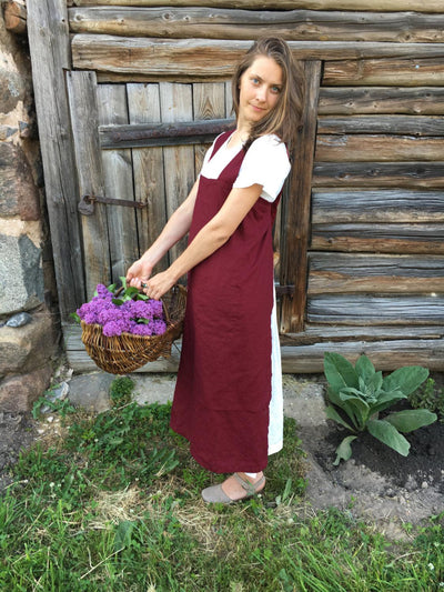 Linen Pinafore Apron, Japanese Apron, Long Linen Apron, Kitchen Apron, Crafts Apron, Womens Apron, Vintage, Handmade, Cross over apron