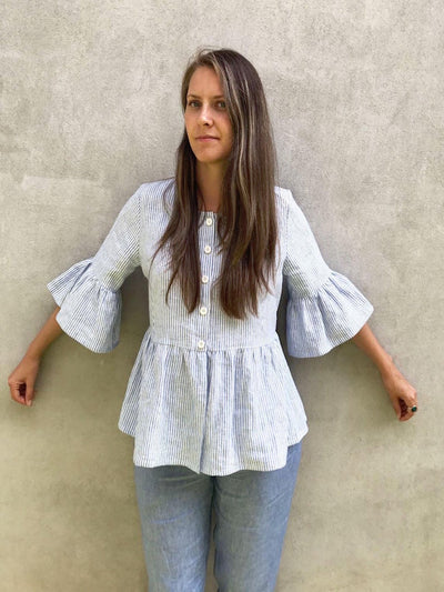 Ready to Ship: Linen Jacket with Ruffles, Size S