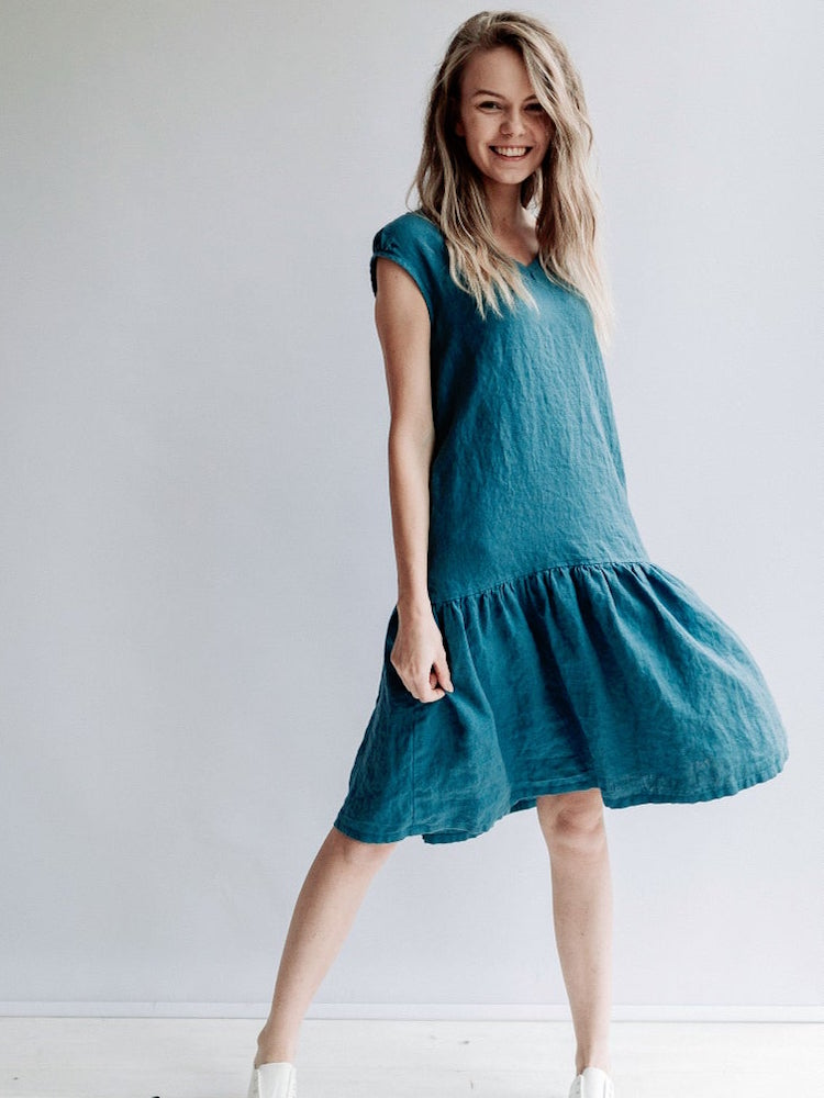 Ready to Ship: A line Drop Waist Dress 'Julia' from Linen, Size XS/S