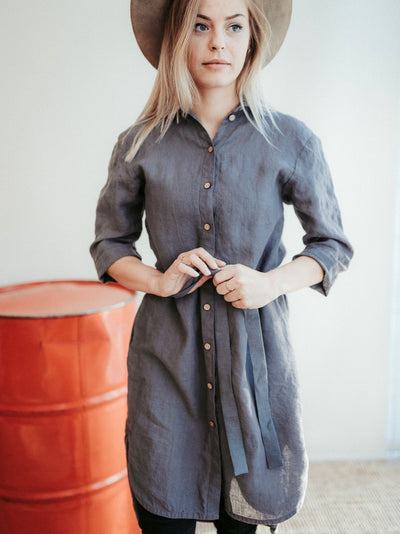 Long Linen Shirt Dress 'Maia""