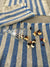 Linen placemats with blue stripes, set of 6 linen placemats-Linenbee