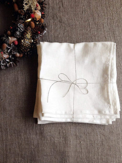 White Linen Napkins, Set of 6 Cloth Napkins-Linenbee