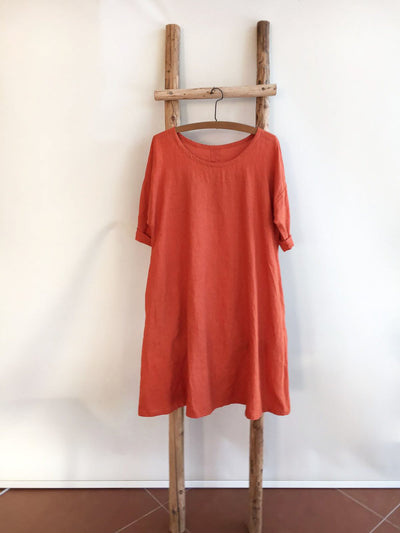 Linen Dress, Trapeze dress-Linenbee