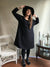 Linen Dress, Oversized black dress-Linenbee