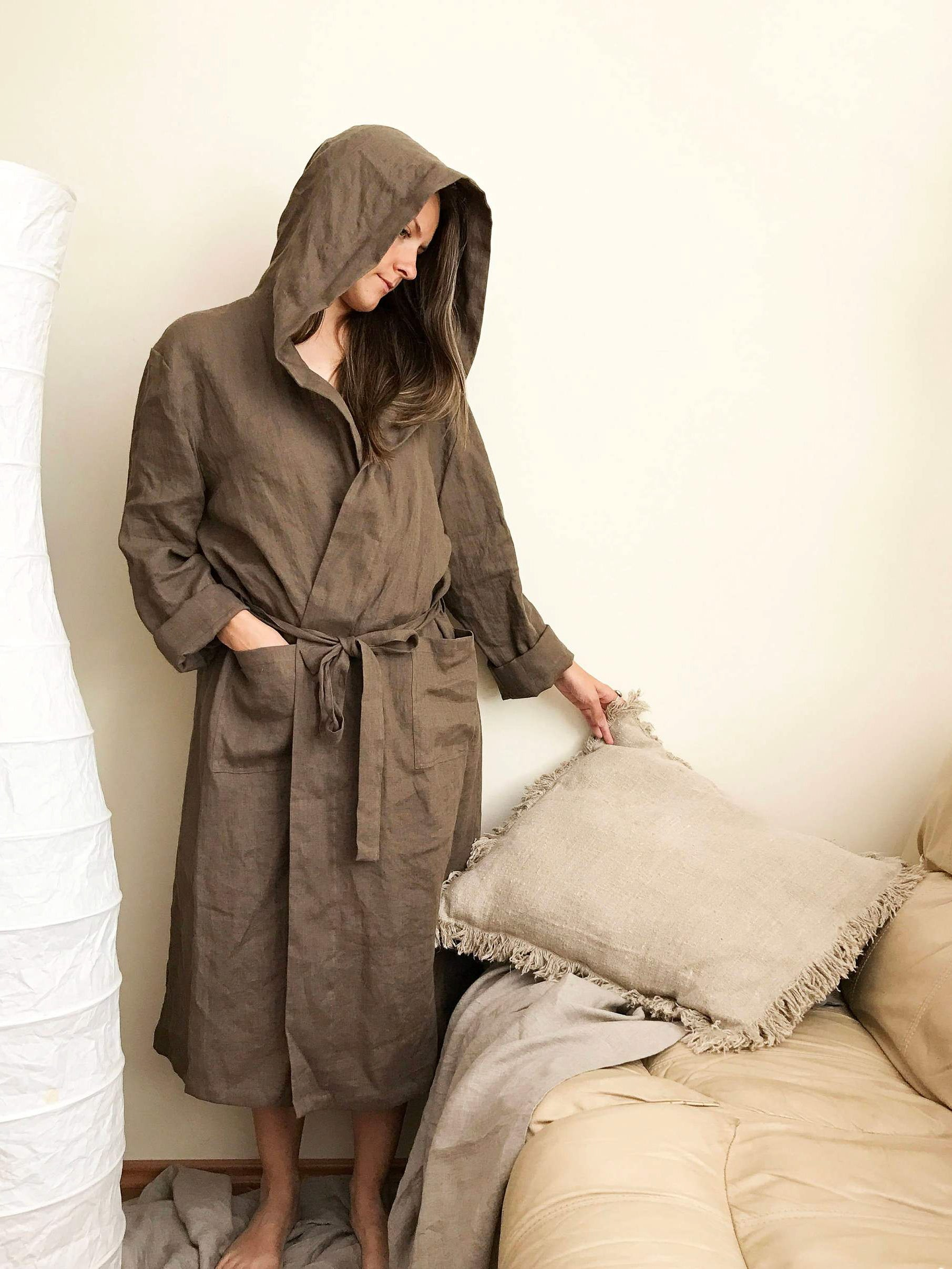 Hooded Linen Bath robe, Womens Linen Robe-Linenbee