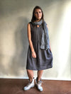 Grey Sleeveless Linen Dress, Linen pinafore dress-Linenbee
