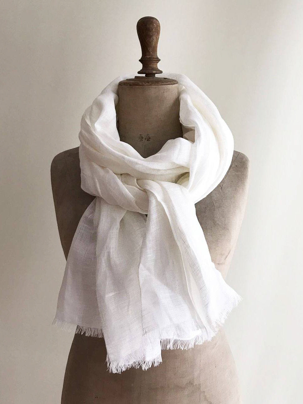 Light White Linen Scarf Soft Linen Shawl for Men or Women, Husband gift-Linenbee