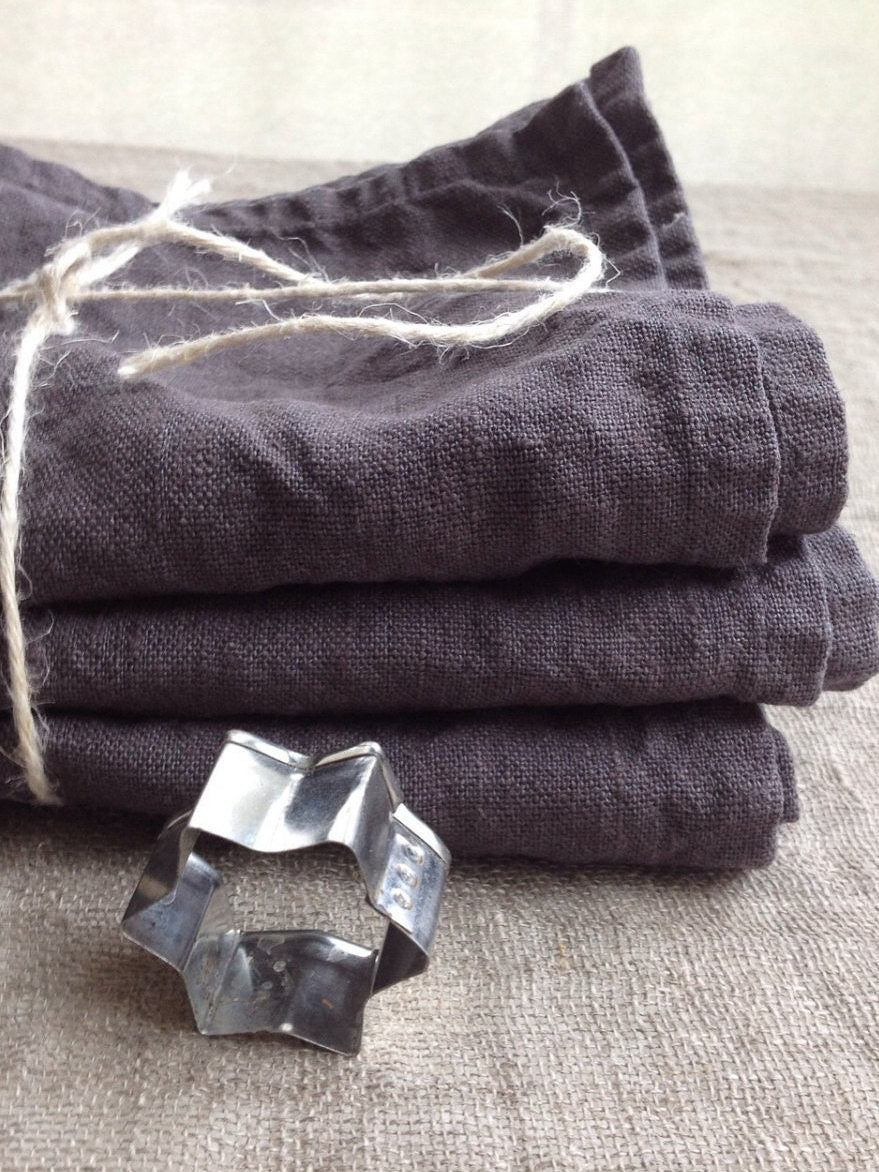 Linen Towels, Set of three Dark Grey Kitchen towels-Linenbee