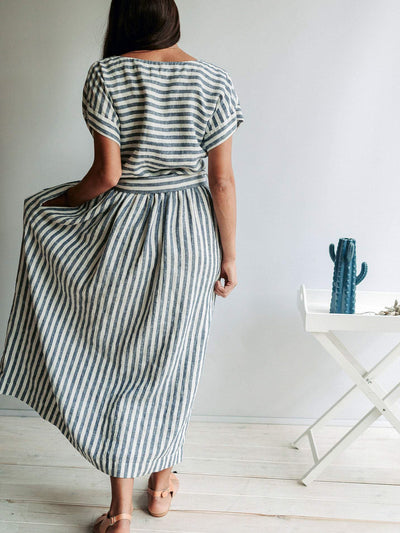 "Long Linen Dress with Belt ""Aurelia"", Linen Maxi Dress-Linenbee"