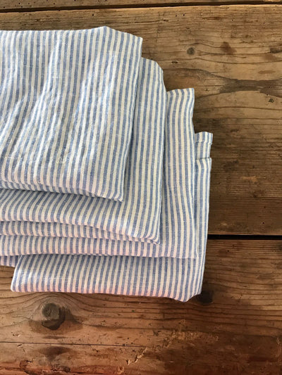 Set of Three Blue Striped Towels, Linen Dish Towels-Linenbee
