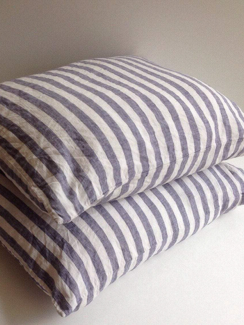 Set of Two Striped Linen Pillowcases, Blue and White Linen Pillowcases-Linenbee