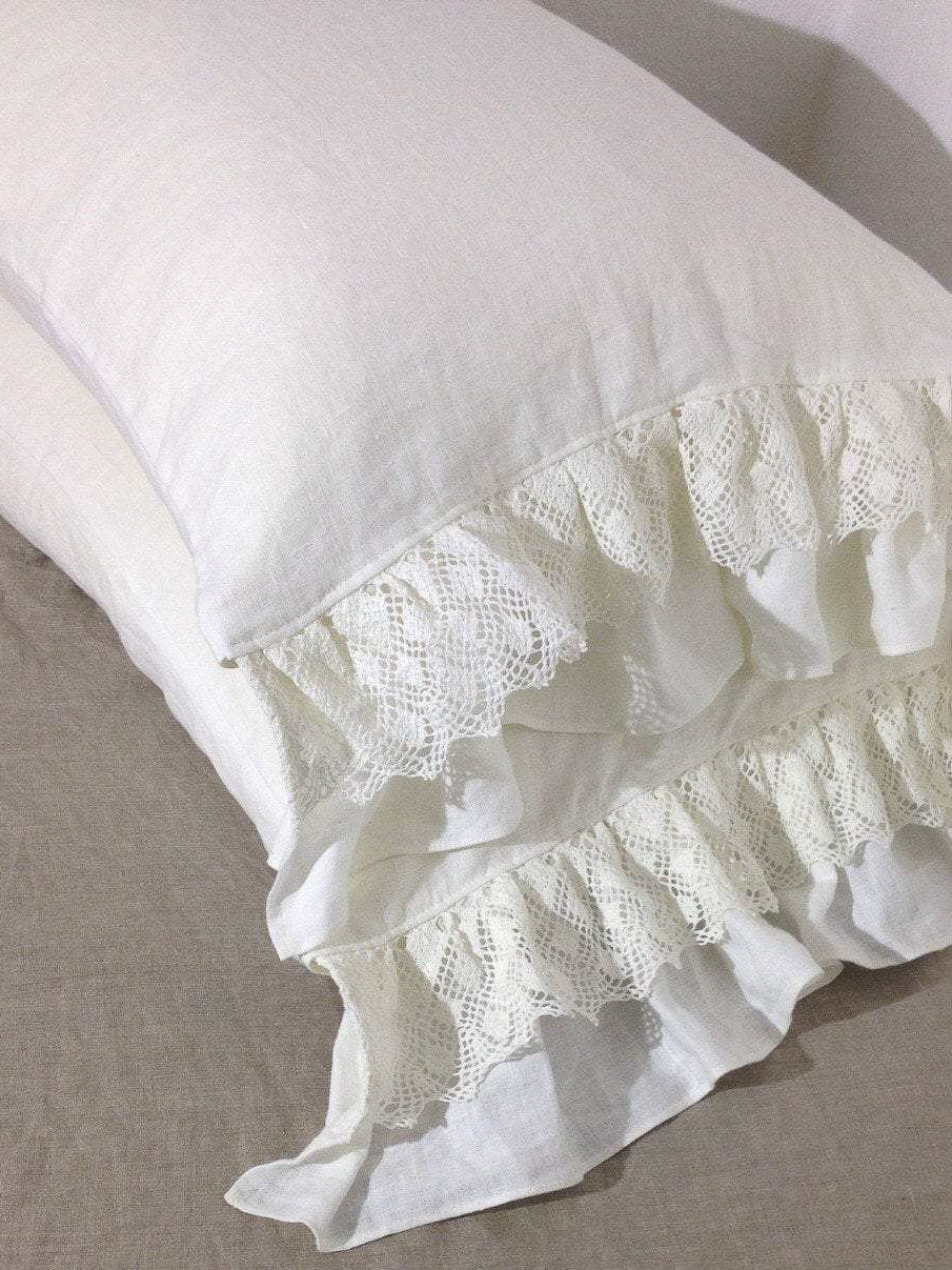 Linen Pillowcase with Lace and Ruffles, Romantic Pillowcase-Linenbee