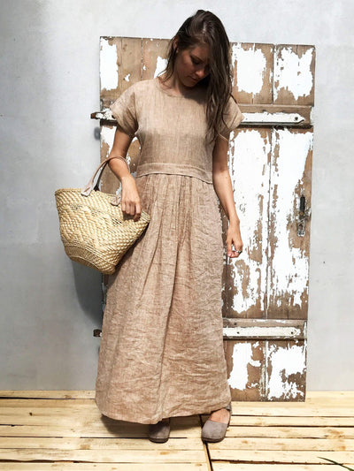 Linen Maxi Dress, Long linen dress-Linenbee
