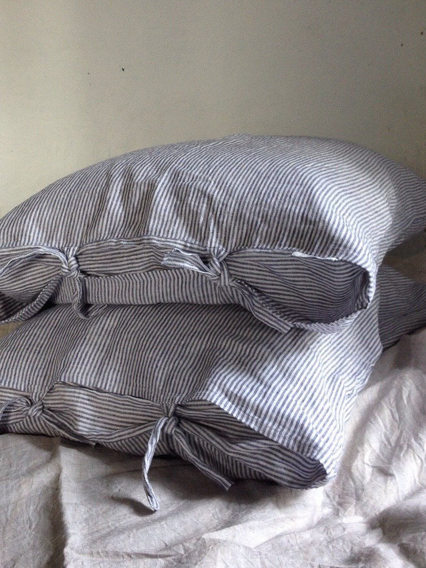 Striped Linen Pillowcases, Set of Two Linen Pillowcases with thin White and Blue stripes-Linenbee