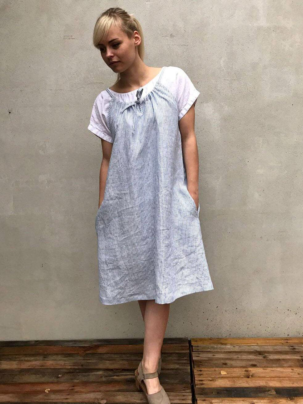 Simple Linen Dress with drawstring neckline, Sleeveless Midi Dress-Linenbee