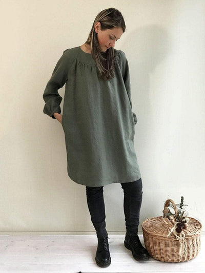 Loose Linen Tunic with Beautiful Shirring, Womens Tunic-Linenbee