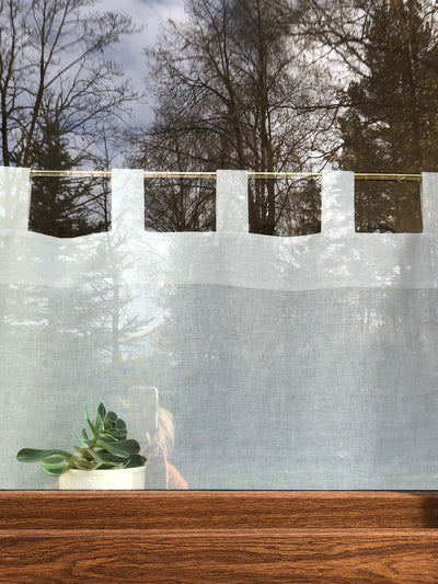 Linen Cafe Curtain, White Linen Curtain Panel-Linenbee