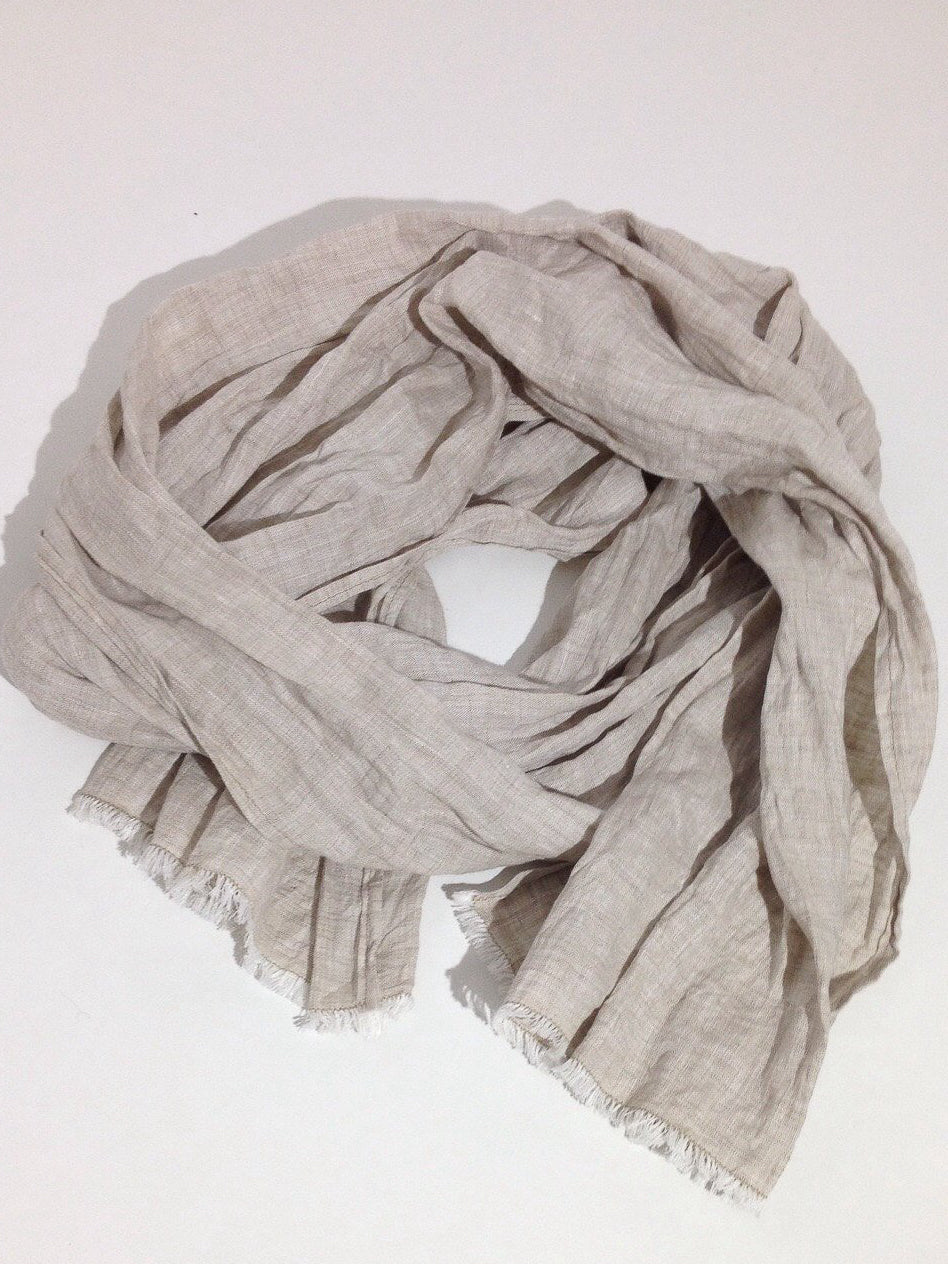 Linen Scarf FREE Shipping Soft Sand Brown colour, Linen Shawl for Men or Women-Linenbee