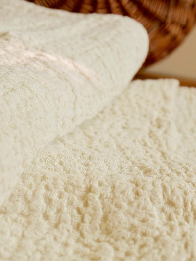 Linen bed cover Champagne color Textured, Rustic linen